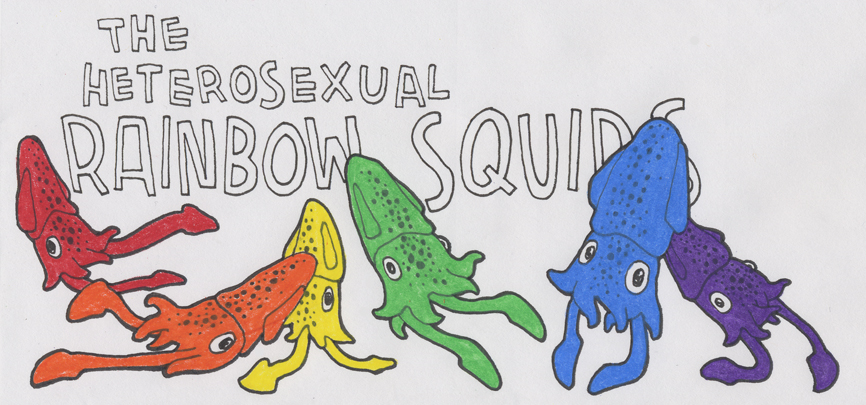 First Runner-Up Logo for President Squid's Initiative to Defend the Defense of Marriage: The Heterosexual Rainbow Squids