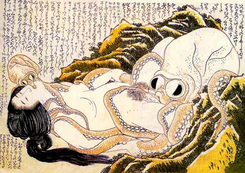 Japenese Woman Engage in Sexual Realtions with a Large Squid and a Small Squid.