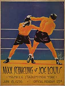 A yellow Art Deco program for the Louis-Schmeling match, featuring the two fighters locked in combat.