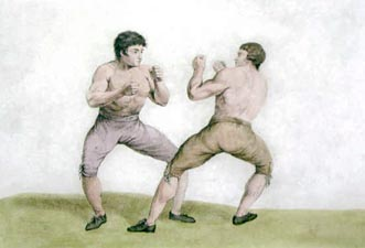 Mendoza, with his black hair, stands opposed to Humphreys and his mousey locks of hair. Both present their fists and are ready to fight, bare chested, wearing nothing but knickerbocker breeches.