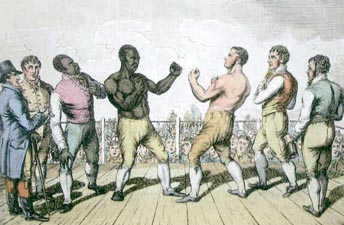 Molyneaux, a barrel chested African slave, stands opposite Chubb in the ring. They are both surrounded by white men dressed in business attire minus their coats, except for Molyneaux who also has a well dressed African man at his side. The fighters are stripped down to their bare chests.